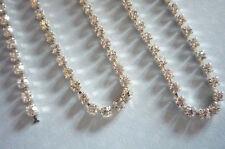 3mm Clear Rhinestone Chain - Silver Setting - Czech Crystals - Choose Length