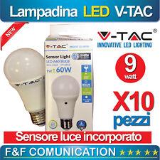KIT 10 PZ  LED LAMPADA LAMPADINA CREPUSCOLARE E27 9W V-TAC SENSORE 300 4000 6000