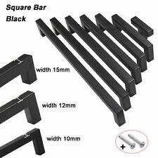 Black Kitchen Cabinet Handles Square Bar Door Knobs Cupboard Drawer Pulls Handle