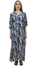 Bimba Moms Bleu Kimono Imprimé Floral Manches Kaftan De Maternité Avec Ceinture