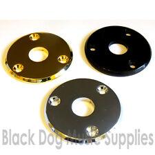 Round guitar jack socket plate in chrome black or gold inc screws quality steel