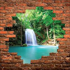 Sticker mural trompe l'oeil mur de pierre déco Cascade  réf 893