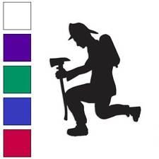 Fireman Kneeling Prayer Decal Sticker Choose Color + Size #3408