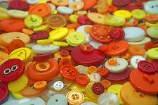 Verano Colores Coser Craft Botones mixto Tamaños Ronda Amarillo Naranja Rojo 100g 1kg