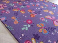 Kinder Spiel Teppich Lila Schmetterling Mädchen Girls Blumen viele Abmessungen