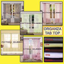 Tab Top Organza Curtain Pair Sheer 140w x 220 h x 2 panels Choose colour