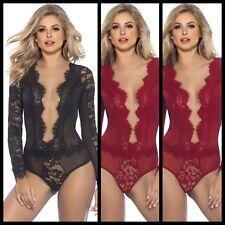 Nuevo Vestido sexy de encaje negro, rojo transparente Teddy Lencería Body Top Talla 3XL 5XL Reino Unido