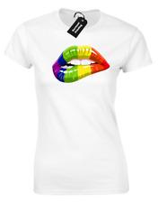 PRIDE LIPS LADIES T-SHIRT COOL LGBT GAY LESBIAN RAINBOW FESTIVAL EQUALITY (COL)