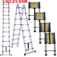 A Frame 3.8m Multipurpose Telescopic Folding Ladder Aluminium Extension Step UK