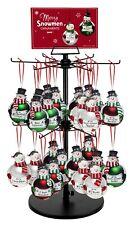 """Ganz Christmas Merry Snowmen 6½"""" Glass Snowman Ornament w/ Sentiment EX27470"""