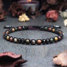 Magnifique Bracelet style Shamballa Homme perles 4mm Pierre de gemmes fait main