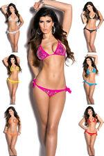 Bikini triangolo paillettes perline due pezzi donna costume mare piscina nuovo