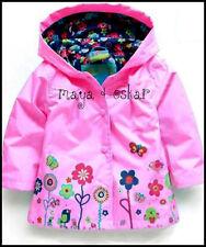 Girls Rosa Pioggia Mac Cappotto Primavera Estate Giacca Cappuccio Windbreaker Fiore 12m - 6yrs