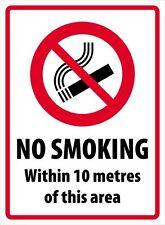 """NO SMOKING 10 METRES"" SIGN - CHOICE OF SUBSTRATE BOARDS"