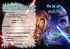 5 ou 12 cartes invitation anniversaire starwars REF 392