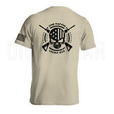 One Nation Under God Military Men's Shirt American Flag Skull Army S-3XL