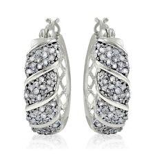 1ct TDW Diamond Fancy Hoop Earrings in Brass