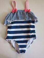 NWT Penelope Mack Girl's 1 Pc Blue White Pink Stripe Swimsuit 4/5/6/6X