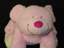 PRECIOUS PINK GIRL BABY RATTLE SMILEY PLUSH TEDDY BEAR LOVEY STUFFED ANIMAL