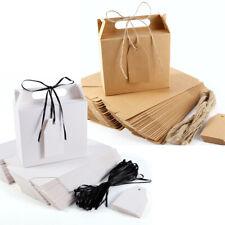 25x boîte cadeau kraft / blanc av poignée + étiquette + cordon jute / ruban noir