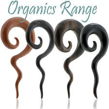 Wood Spiral Ear Plug Snake Tail Thai Horn Taper Stretcher Long Hanger For Gauges