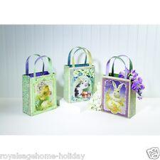 """X46380 10.5"""" Food Safe Vintage Print Easter Bags Metal Gift Basket Decoration"""