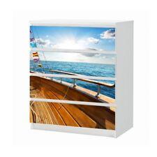 Set Möbelaufkleber für Ikea Kommode MALM 4 FächerYacht Meer Folie 25B1038