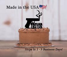 Gun Cake Topper, Pistol, Smoking Gun, Firearms, Birthday Party Keepsake - LT1144