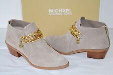 New $215 Michael Kors MK Rickie Flat Bootie Suede Dark Dune Short/Ankle Boots