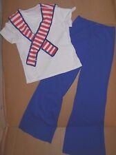 NWT Patriotic Dance Costume Sailor Red White Blue sequin edge Boys 3pc Spandex