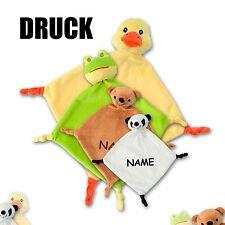 Schmusetuch Kuscheltuch Schnuffeltuch Babytuch Teddy Frosch Ente Panda + Name