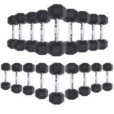 Cast Iron Dumbbells 8kg - 30kg Hexagonal Rubber Weights Set Gym Fitness Exercise