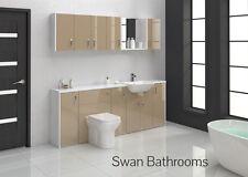 Cappuccino brillant meubles de salle de bain monté avec des unités murales 2100mm