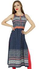 Bimba Women Chic Style Printed Kurta Kurti Trendy Summer Tunic Top Blue Blouse