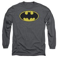 Batman Classic Bat Logo Mens Long Sleeve Shirt CHARCOAL