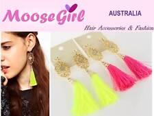 Golden Petal Shiny Gems Tassel Earrings Ear Drops Woman Fashion Accessories