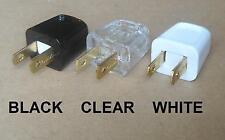 MALE 110V 120 V AC 2 PIN PRONG FEED THRU CORD PLUG BLACK CLEAR TRANSPARENT WHITE