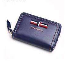 Women Small Wallet Genuine Leather Zipper Bow Paneled Girls Mini Purse Moneybag
