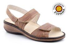 Sandalia relax velcro piel color marrón o azul tallas 36 a41