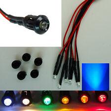 LED 3mm mit Kunststoff-Fassung Halter 9-12V Verkabelt 7 Farben Modellbau Hobby