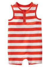 Baby Gap NWT Orange White Striped Tank Shorts Romper Newborn - up to 7 0-3 $20