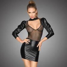 NOIR HANDMADE Vanquish Dress Wetlook Mini Kleid m. Tüll Schwarz Vorn Transparent
