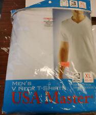 3 PACKS MEN  WHITE V-NECK T-SHIRT  UNDERSHIRT 100% COTTON TAGLESS