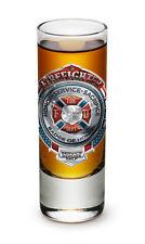2 Ounces Shooter Shot Glass Fire Honor Service Sacrifice Chrome Badge