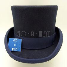 VINTAGE Wool Felt Men Top Hat Victorian Tuxedo Gentlemen Topper   Navy   M L XL