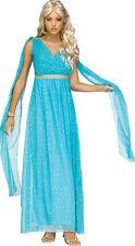 Womens Divine Greek Goddess Blue Gown Athena Medusa Dress Halloween Costume