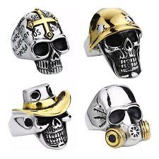 Skull Stainless Steel Biker Ring Harley Davidson Rider Biker Soldier Cowboy 7-14