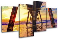 Sunset Beach Waves Pier Landscapes MULTI TOILE murale ART Photo Print