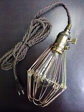 Vintage Brass Lampholder Socket Brown Twisted Cord Plug Edison Light Bulb Cage