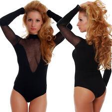 Cotton Women Bodysuit Turtle mesh neck Long sleeve Bikini Lady Leotard S-3XL1454